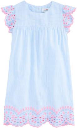 Vineyard Vines Girls Multi Eyelet Flutter Sleeve Dress
