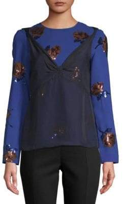 Dries Van Noten Floral Sequined Long-Sleeve Blouse