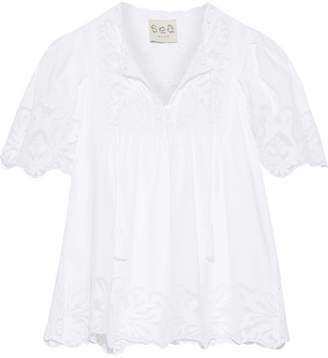 SEA - Crochet And Tulle-trimmed Cotton-poplin Blouse - Off-white $315 thestylecure.com