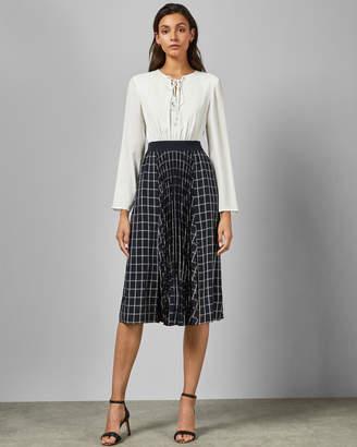 Ted Baker FANCESA Midi dress with check skirt