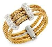 Alor Diamond 18K Yellow Gold & Stainless Steel Cable Ring