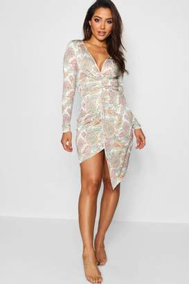 boohoo Paisley Print Twist Front Asymmetric Midi Dress