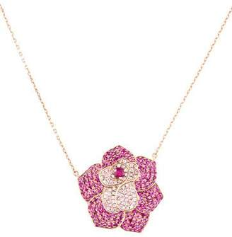 As 29 AS29 18K Sapphire & Ruby Flower Pendant Necklace
