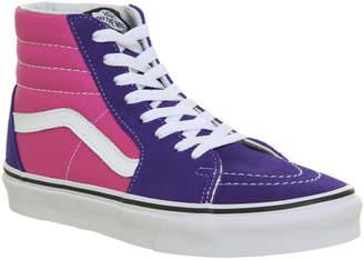 dbf3a163b818 Vans Sk8 Hi Trainers Deep Blue Hot Pink