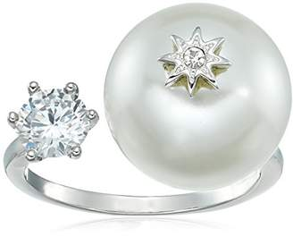 """Betsey Johnson Betsey Blue"""" Cubic Zirconia Stone And Pearl Open Ring Size 7"""