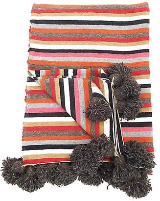 One Kings Lane Vintage Striped Cotton Pom Pom Blanket - Habibi Imports