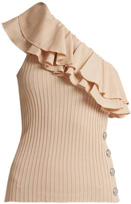 Balmain Ruffle-trimmed one-shoulder stretch-knit top