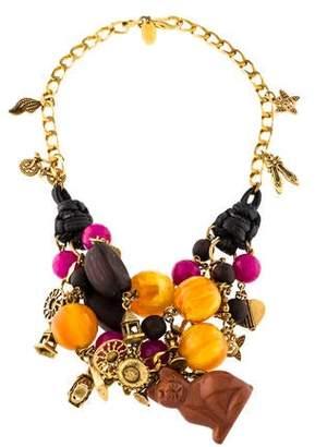 Erickson Beamon Goldstone, Wood, Resin, & Charm Collar Necklace