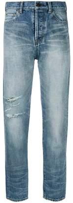 Saint Laurent high-waist distressed jeans