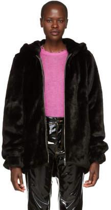 Helmut Lang Black Faux-Mink Oversized Bomber Jacket