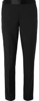 Black Soho Slim-Fit Satin-Trimmed Wool And Mohair-Blend Suit Trousers