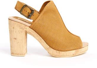 Sbicca Almonte Cork Heel Peep Toe Tan Sandal