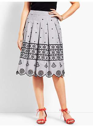 Talbots Eyelet Pleated Stripe Skirt
