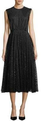 Co Sleeveless Jewel-Neck Dot Tulle Flared-Skirt Dress
