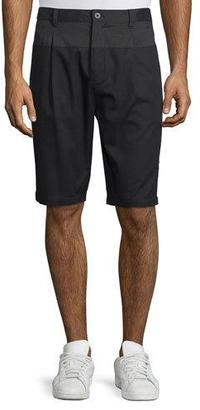 Helmut Lang Single-Pleat Slim-Fit Shorts, Black/Dark Indigo $265 thestylecure.com