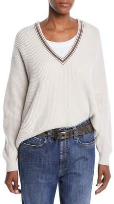 Brunello Cucinelli Monili Deep V-Neck Ribbed Cashmere Sweater