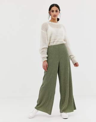 Asos DESIGN wide leg pants in jersey crinkle