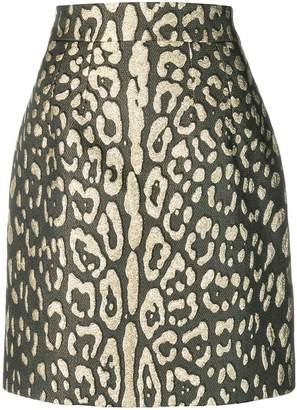Dolce & Gabbana metallic leopard-print mini skirt