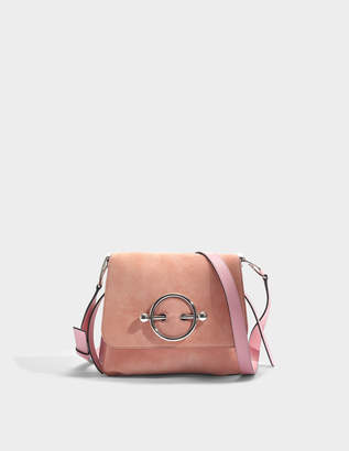J.W.Anderson Disc Bag in Dusty Rose Suede and Calf Leather