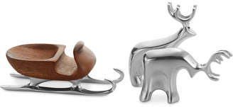 Nambe Mini Sleigh with Reindeer 3-Pc. Set