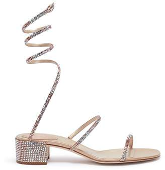 Rene Caovilla 'Cleo' strass coil anklet satin sandals