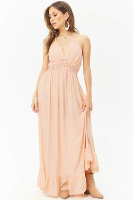 Forever 21 Boho Me Crochet-Trim Halter Maxi Dress