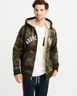 Abercrombie & Fitch Full-Zip Sherpa-Lined Logo Hoodie