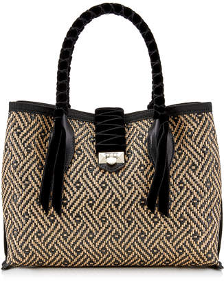 Jimmy Choo MARIANNE SHOPPER/S Small Black Woven Raffia and Velvet Unlined Handbag