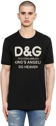 Dolce & Gabbana King's Angels Logo Print Cotton T-Shirt