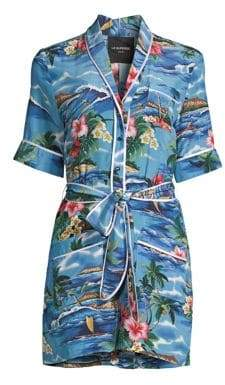 Le Superbe Le Superbe Women's Beatnik Short Silk Romper - Pacific Ocean Denim - Size 12