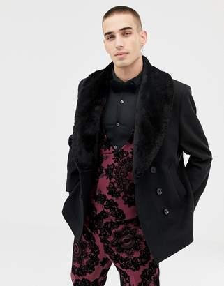 Twisted Tailor cropped peacoat with wide faux fur collar