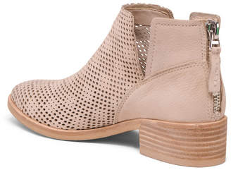 Dolce Vita Perforated Leather Stacked Heel Booties