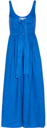 Mara Hoffman - Lace-up Organic Linen Midi Dress - Bright blue $350 thestylecure.com