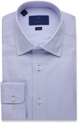 David Donahue Men's Trim-Fit Mini Check Dress Shirt