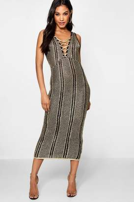 boohoo Lace Up Metallic Knitted Midi Dress