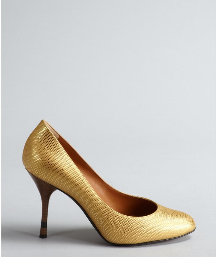 Fendi Gold Lizard Embossed Leather Pumps