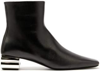 Balenciaga Typo Chrome Heel Leather Ankle Boots - Womens - Black