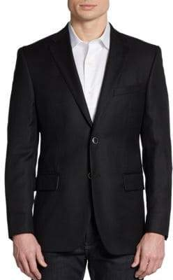 Saks Fifth Avenue BLACK Two-Button Wool Classic-Fit Blazer