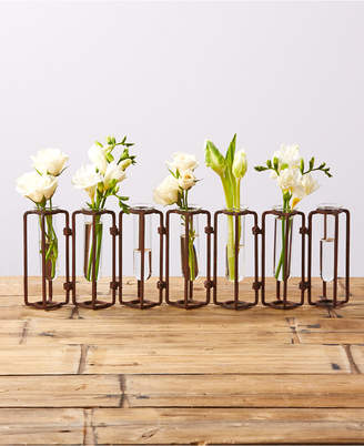 Twos Company Lavoisier Set of 7 Hinged Flower Vases with Antiqued Rusted Finish