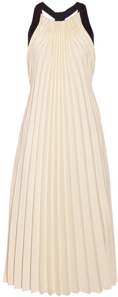 3.1 Phillip Lim 3.1 Phillip Lim - Silk Satin-trimmed Pleated Twill Midi Dress - Beige