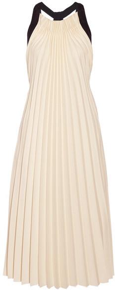 3.1 Phillip Lim3.1 Phillip Lim - Silk Satin-trimmed Pleated Twill Midi Dress - Beige
