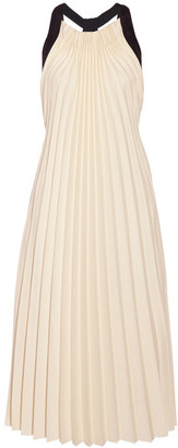 3.1 Phillip Lim - Silk Satin-trimmed Pleated Twill Midi Dress - Beige