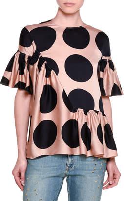 Stella McCartney Short-Sleeve Ruffled Polka Dot Silk Top, Peach/Navy