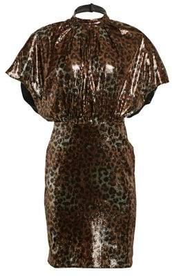 MSGM Leopard Shimmer Mockneck Dress