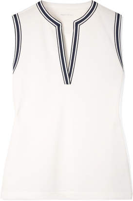 Tory Sport Striped Piqué Tank - White