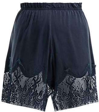 Icons Waterlily Silk Shorts - Womens - Navy