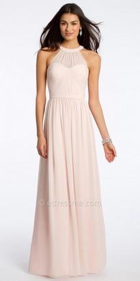 Camille La Vie Chiffon Halter Evening Dress With Illusion Yoke Neckline $150 thestylecure.com