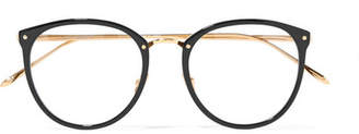 Linda Farrow 251 C1 Round-frame Acetate And Gold-plated Optical Glasses - Black
