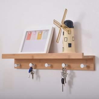 "Mllieroo Bathroom 24"" Wall Mount Shelf and Coat Rack with 5 Alloy Hooks,Natural"