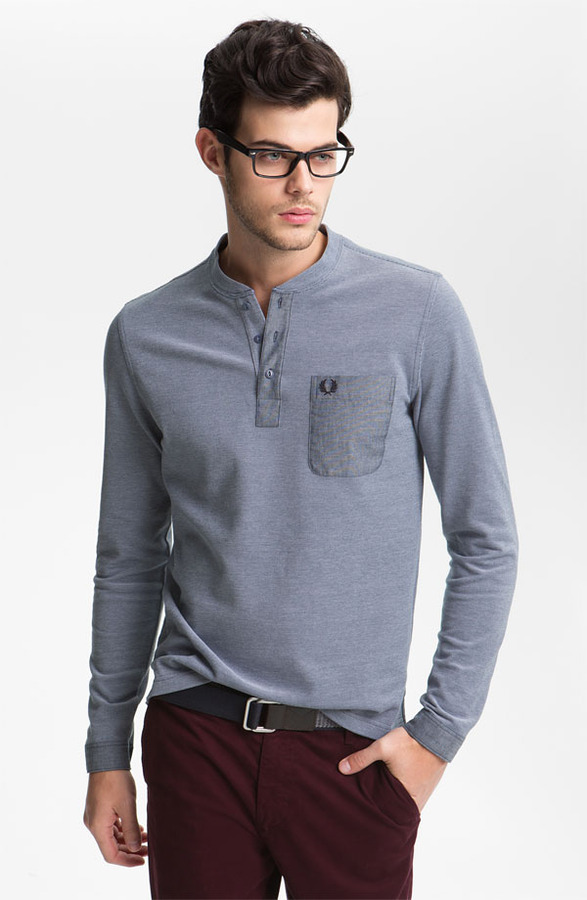 Fred Perry Long Sleeve Henley T-Shirt